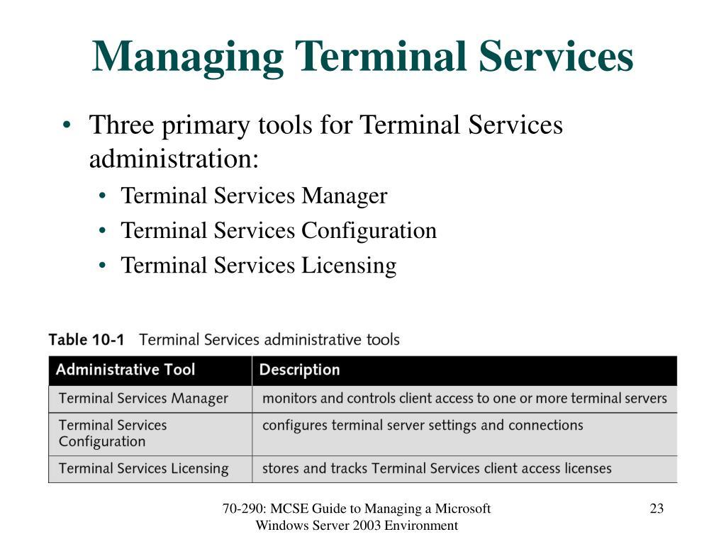 Managing Terminal Services
