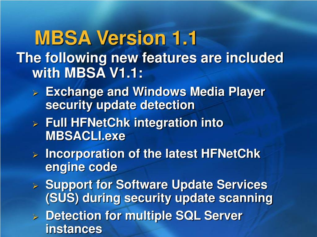 MBSA Version 1.1