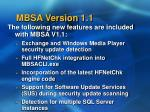 mbsa version 1 1