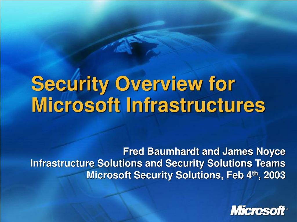 Security Overview for Microsoft Infrastructures