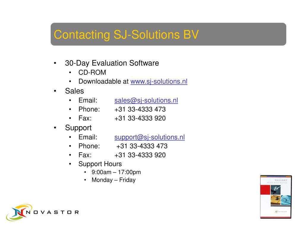 Contacting SJ-Solutions BV