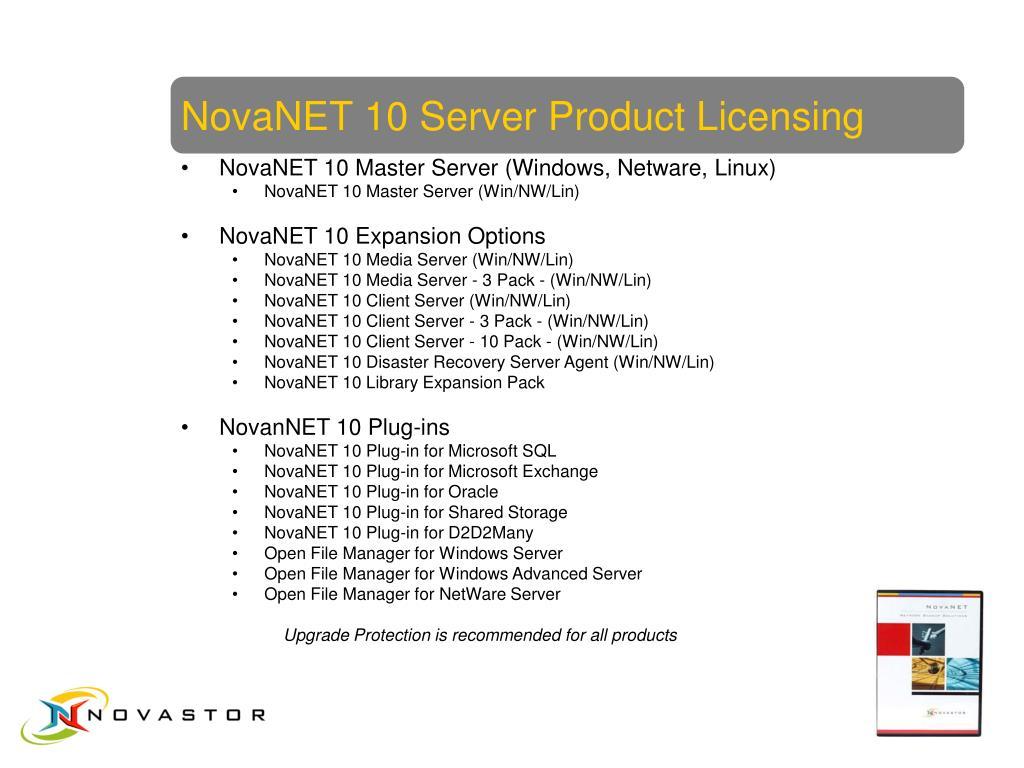 NovaNET 10 Server Product Licensing