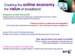 creating the online economy the value of broadband