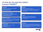 so what are the small and medium business needs