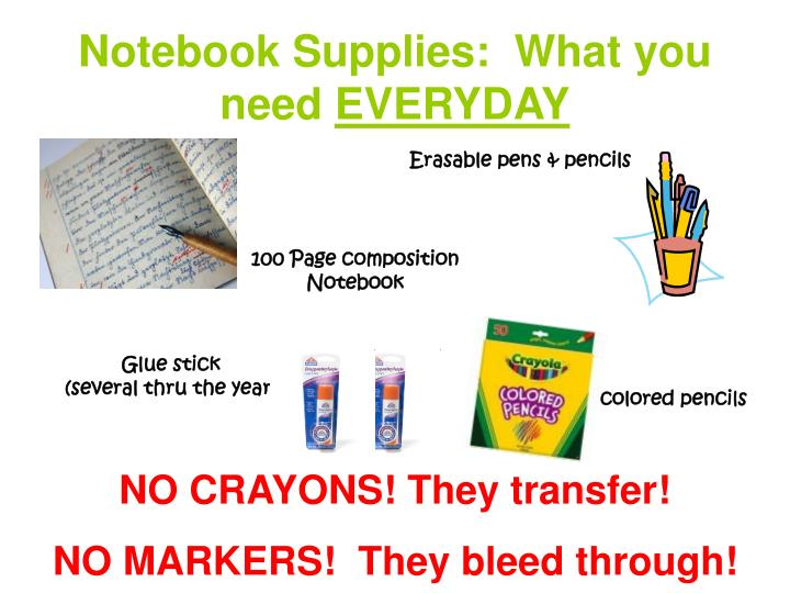 Notebook Supplies:  What you need