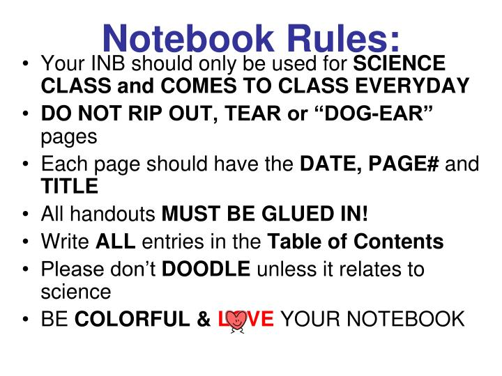 Notebook Rules: