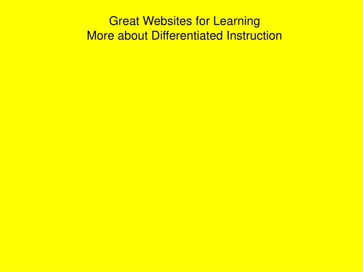 Great Websites for Learning