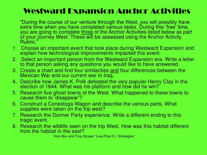 Westward Expansion Anchor Activities