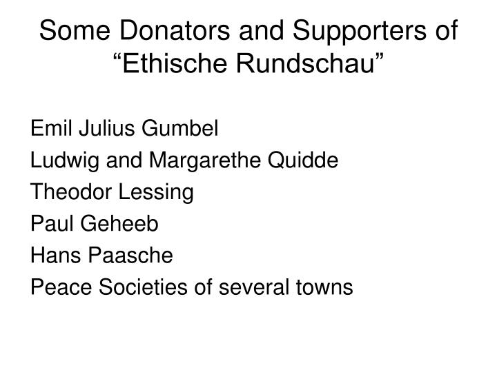 Some Donators and Supporters of