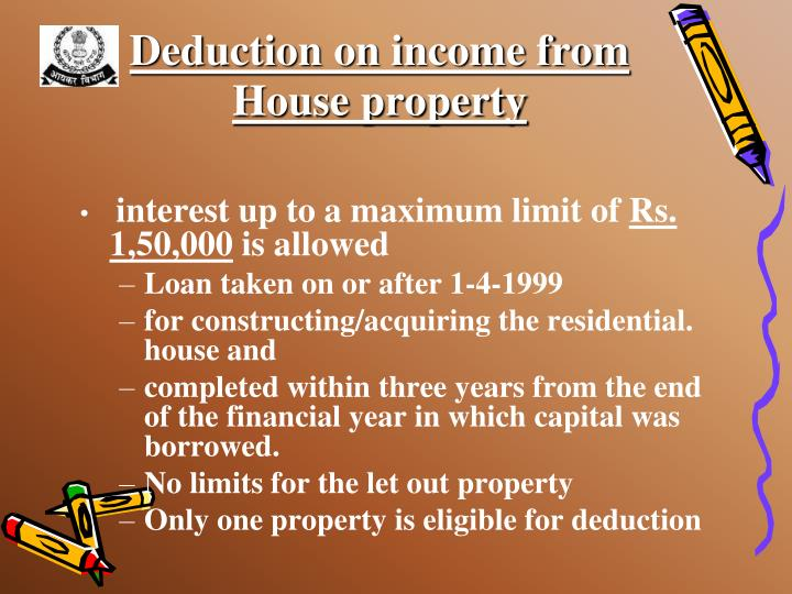 Deduction on income from
