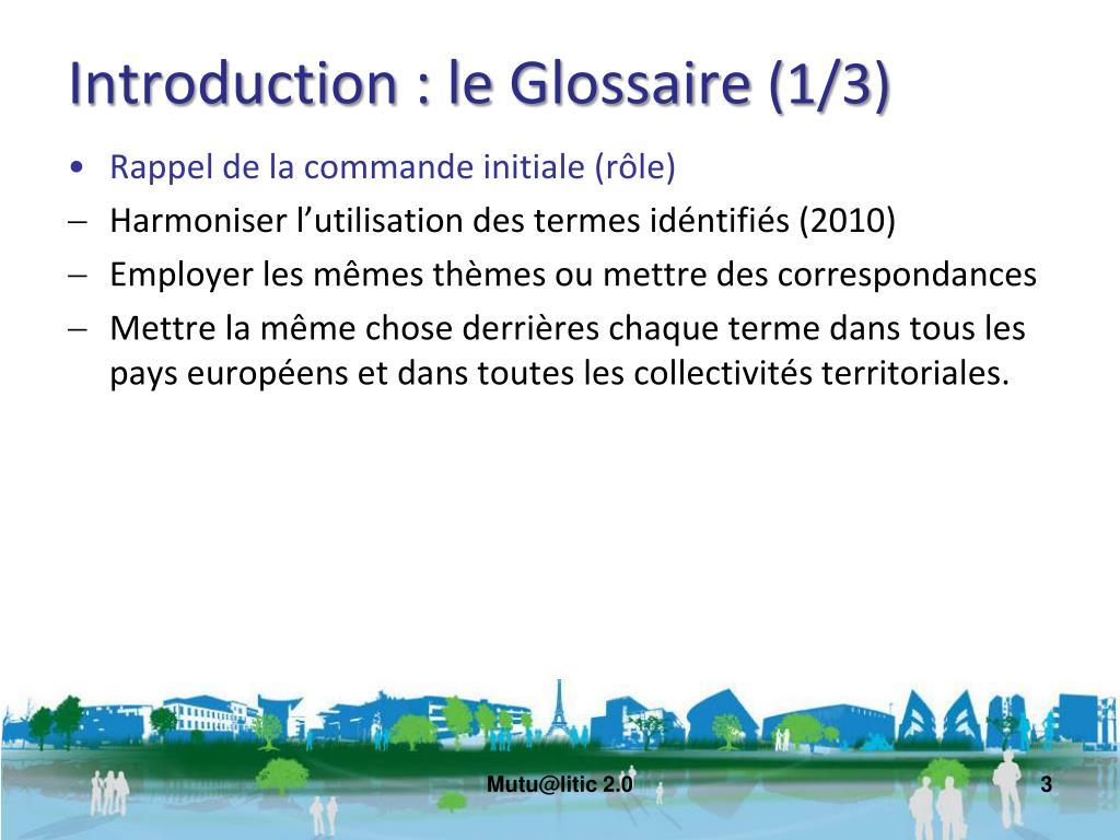 Introduction : le Glossaire