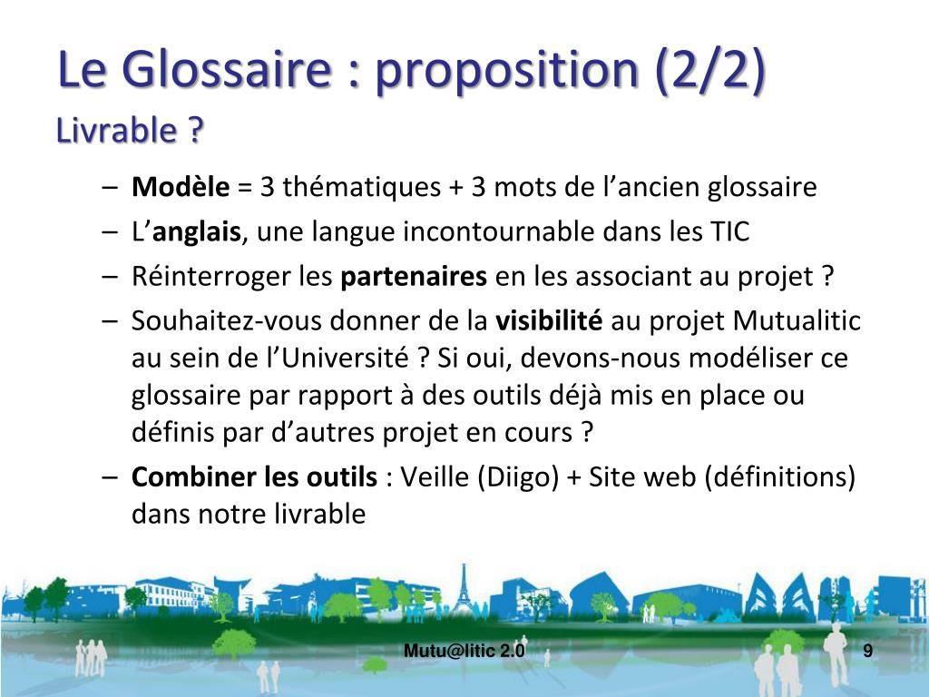 Le Glossaire : proposition (2/2)