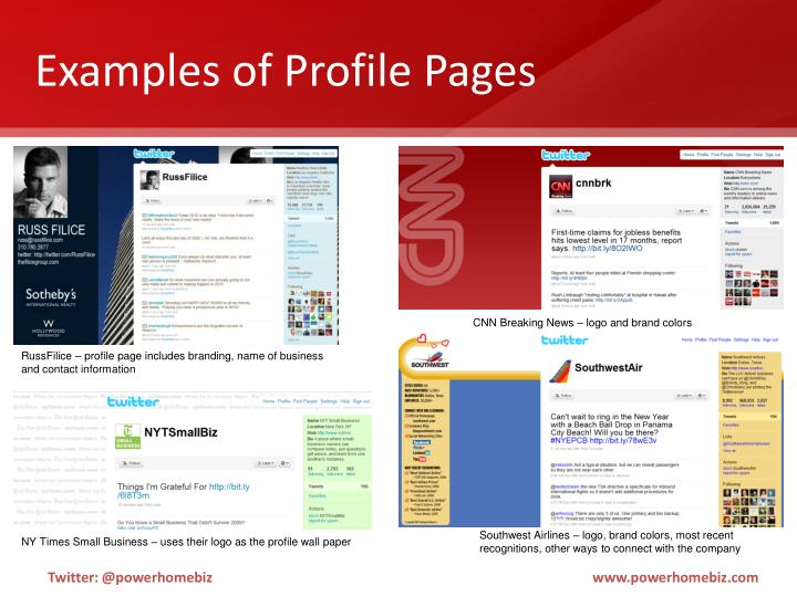 Examples of Profile Pages