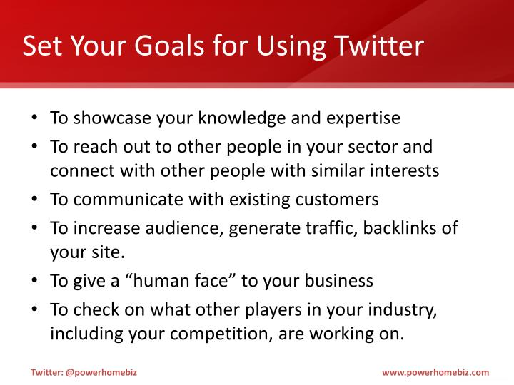 Set Your Goals for Using Twitter