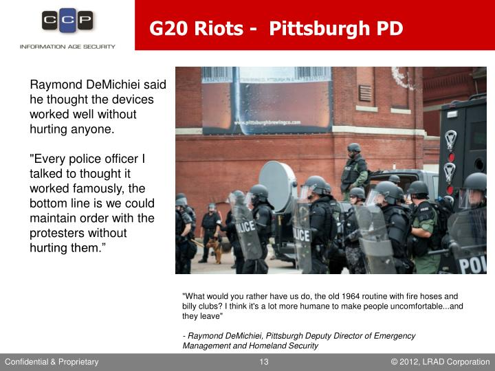 G20 Riots -  Pittsburgh PD