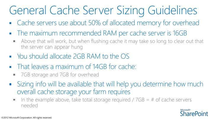 General Cache Server Sizing Guidelines