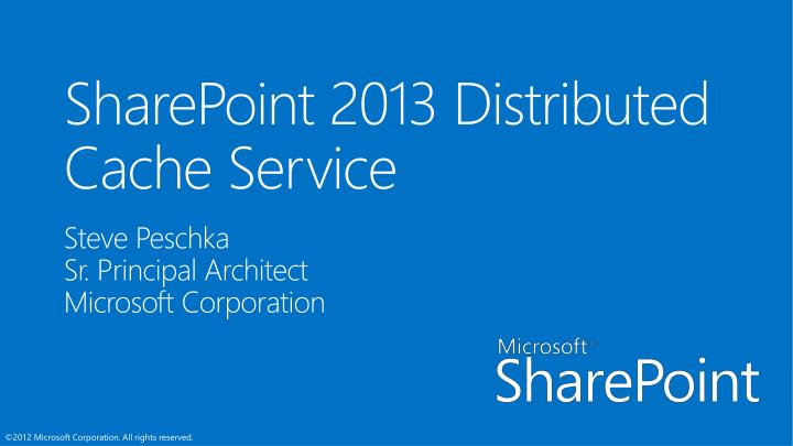 Sharepoint 2013 distributed cache service