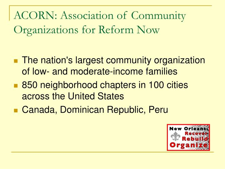 ACORN: Association of Community Organizations for Reform Now