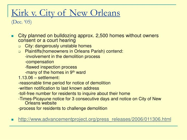 Kirk v. City of New Orleans