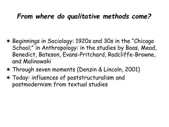 From where do qualitative methods come?