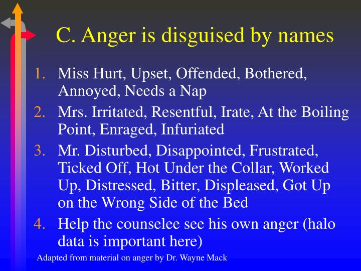 C. Anger is disguised by names
