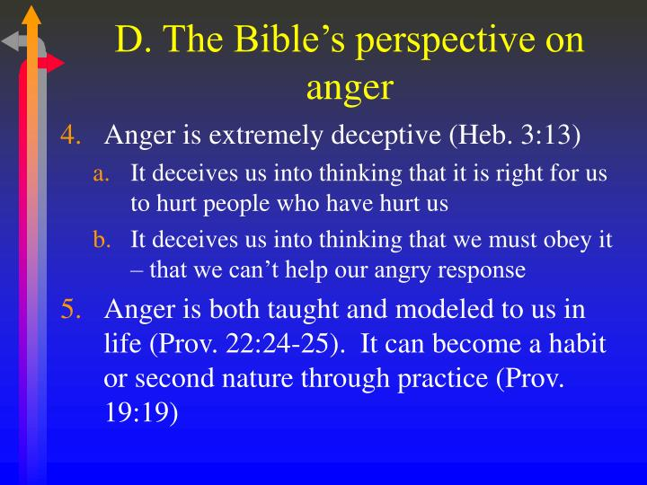D. The Bible's perspective on anger