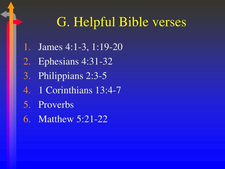 G. Helpful Bible verses