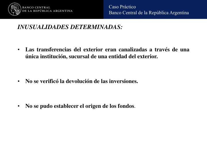 INUSUALIDADES DETERMINADAS: