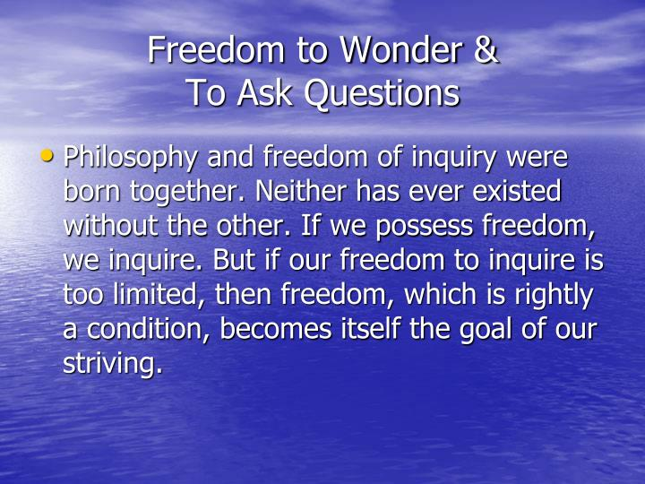Freedom to Wonder &