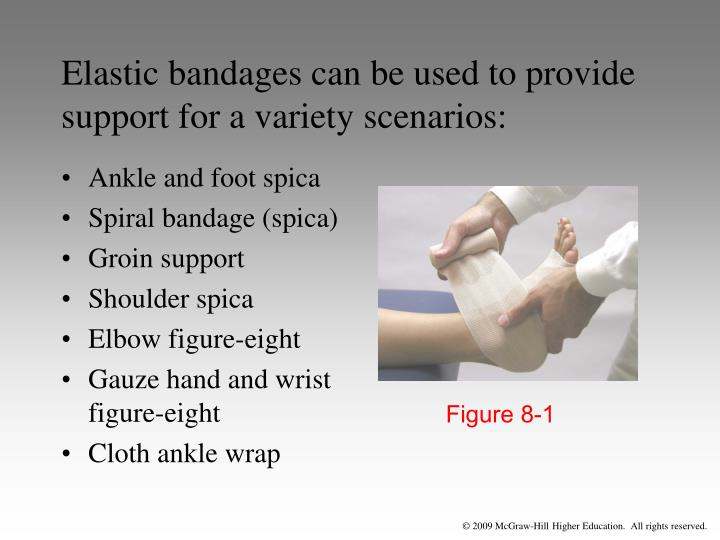 Elastic bandages can be used to provide support for a variety scenarios: