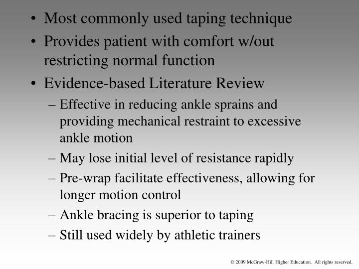 Most commonly used taping technique