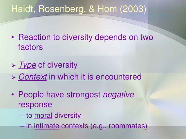 Haidt, Rosenberg, & Hom (2003)
