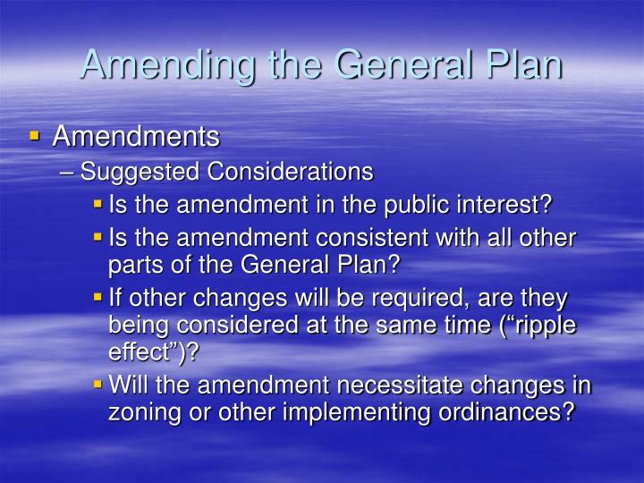 Amending the General Plan