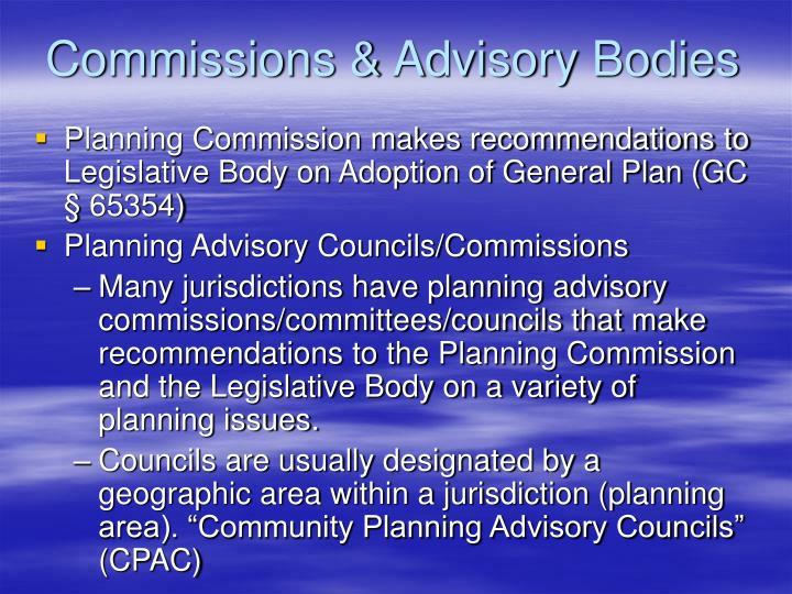 Commissions & Advisory Bodies