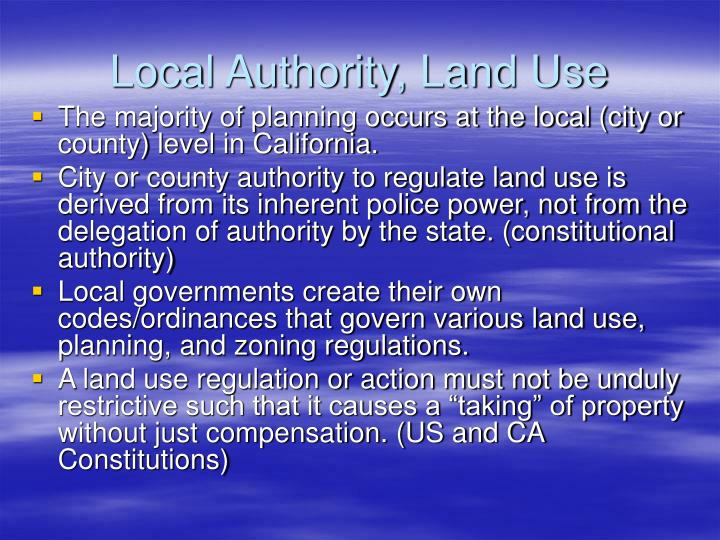 Local Authority, Land Use
