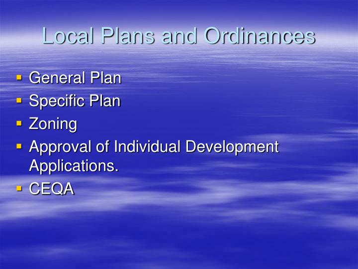 Local Plans and Ordinances