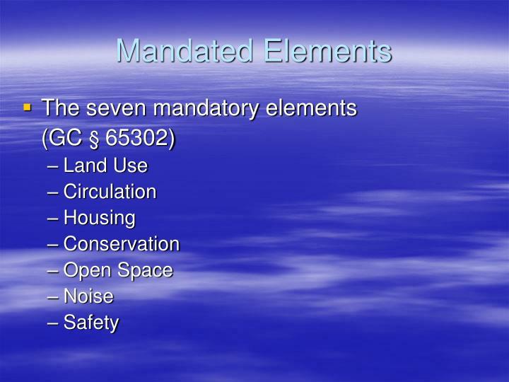 Mandated Elements