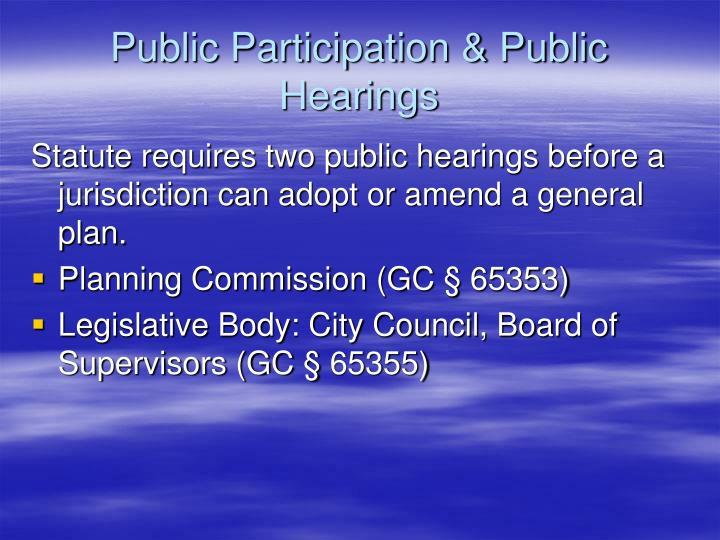 Public Participation & Public Hearings