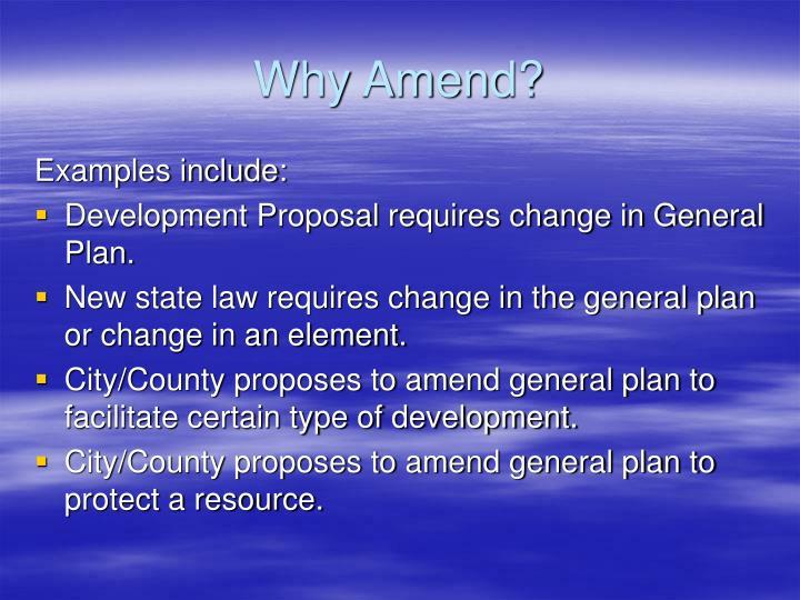 Why Amend?