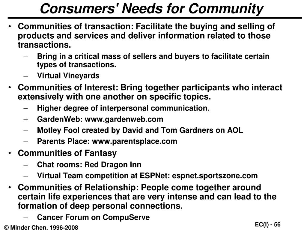 Consumers' Needs for Community