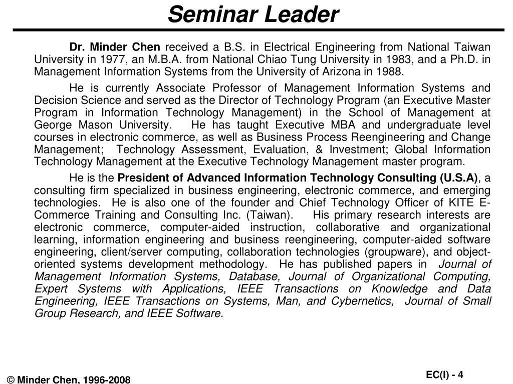 Seminar Leader