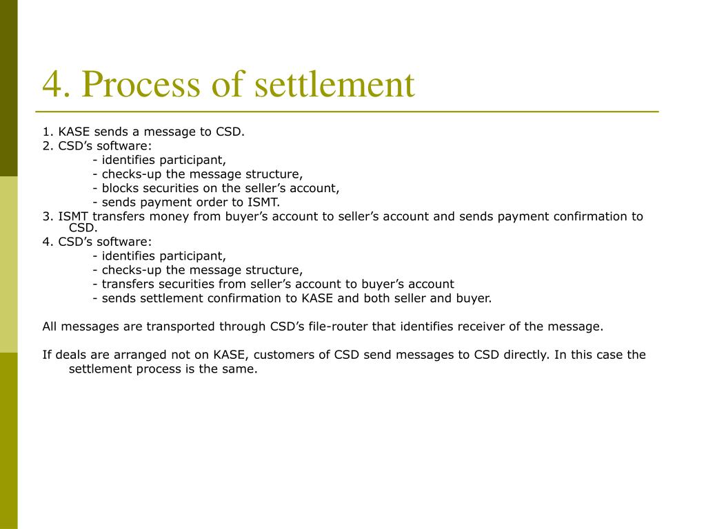 4. Process of settlement