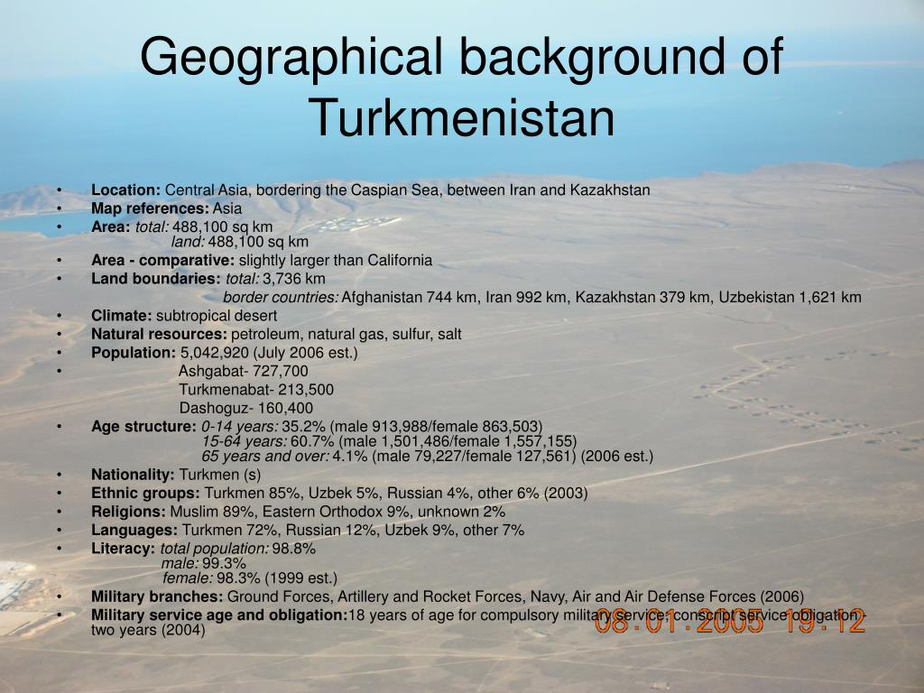 Geographical background of Turkmenistan