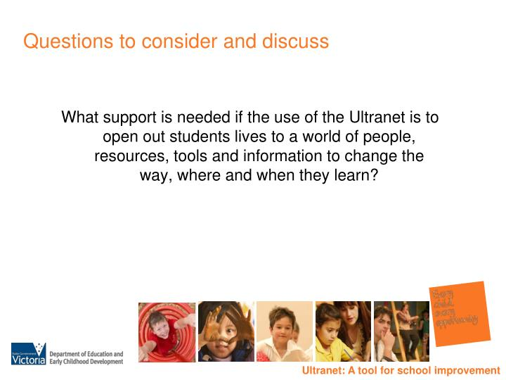 Questions to consider and discuss