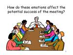how do these emotions affect the potential success of the meeting
