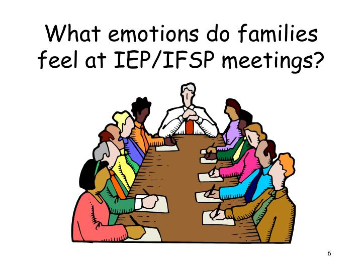 What emotions do families feel at IEP/IFSP meetings?