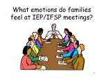 what emotions do families feel at iep ifsp meetings