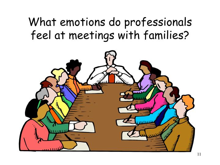 What emotions do professionals feel at meetings with families?