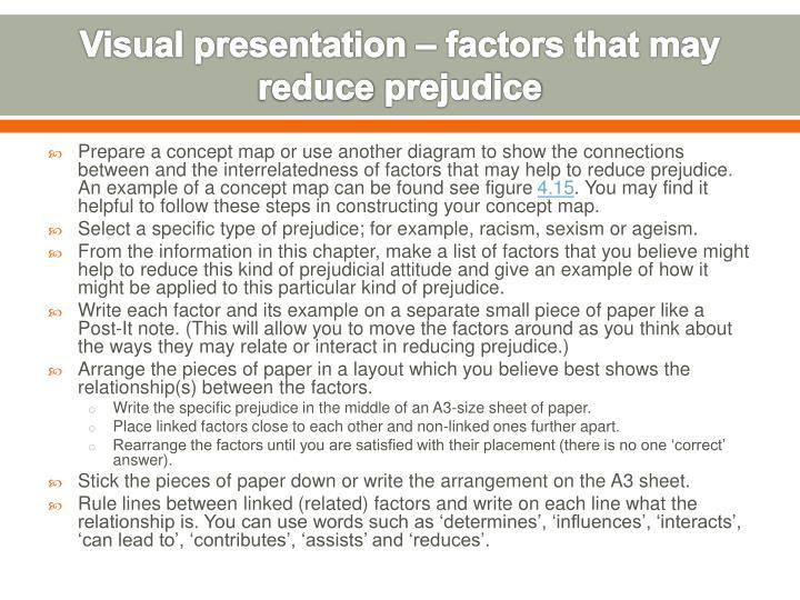 Visual presentation – factors that may reduce