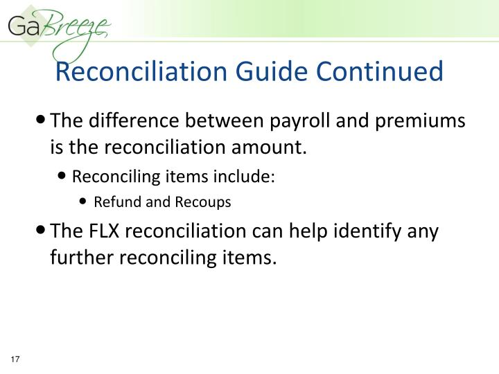 Reconciliation Guide Continued